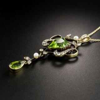Edwardian Peridot, Diamond and Pearl Necklace