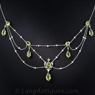 Edwardian Peridot, Diamond and Pearl Necklace - 1
