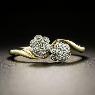 Edwardian Petite Double Diamond Cluster Ring, English - 2