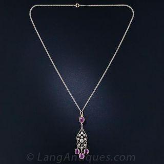 Edwardian Pink Sapphire and Diamond Necklace