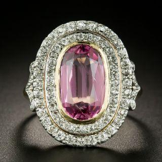 Edwardian Pink Topaz and Diamond Ring - 2