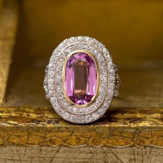 Edwardian Pink Topaz and Diamond Ring
