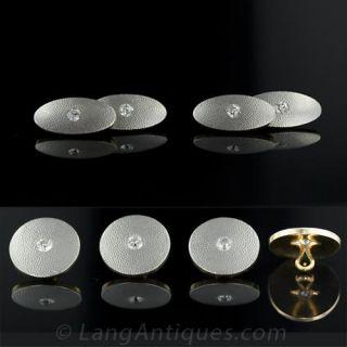 Edwardian Platinum and Diamond Dress Set