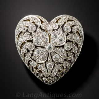 Edwardian Platinum and  Diamond Heart Brooch - 1