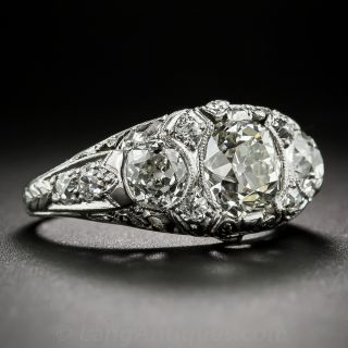 Edwardian Platinum and Diamond Three-Stone Ring
