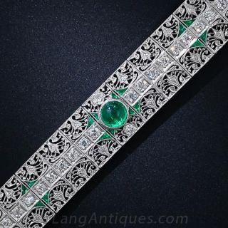 Edwardian Platinum Diamond and Emerald Bracelet - 1