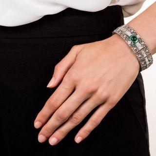 Edwardian Platinum Diamond and Emerald Bracelet