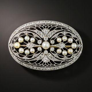 Edwardian Platinum Diamond Pearl Brooch - 2