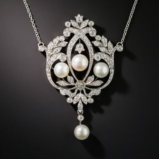 Edwardian Platinum Pearl And Diamond Lavalière Necklace - 2