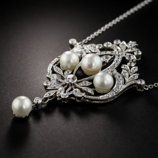 Edwardian Pearl and Diamond Lavalière Necklace