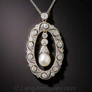 Edwardian Platinum Pearl and Diamond Pendant - 1
