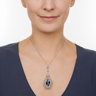 Edwardian Rock Crystal Reverse Intaglio Lavalière Necklace