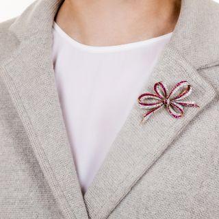 Edwardian Ruby and Diamond Bow Brooch