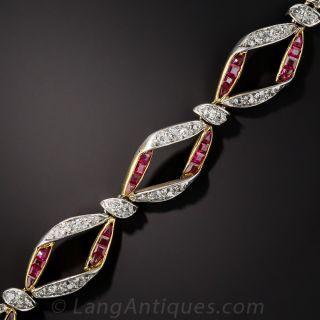 Edwardian Ruby and Diamond Bracelet