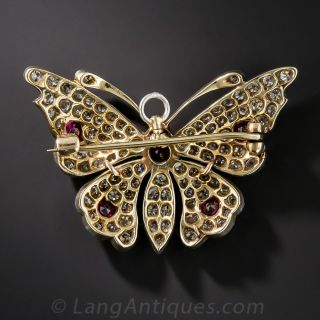 Edwardian Ruby and Diamond Butterfly Pin, Circa 1900