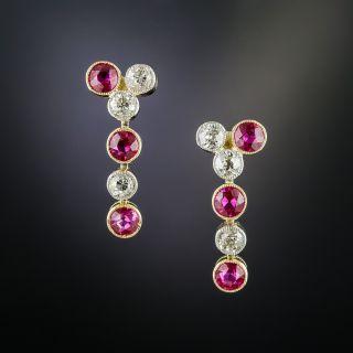 Edwardian Ruby and Diamond Drop Earrings - 2