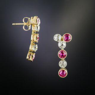 Edwardian 'Ruby' and Diamond Drop Earrings