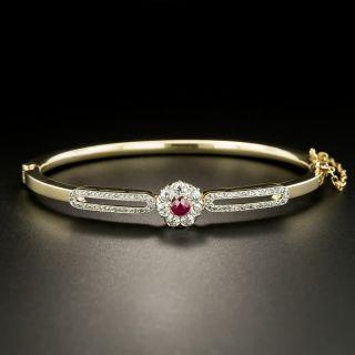 Edwardian Ruby and Diamond Bangle Bracelett - 2