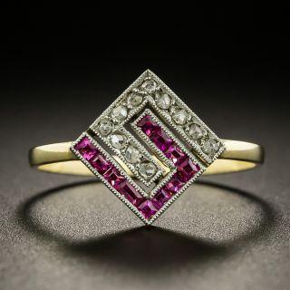 Edwardian Ruby and Diamond Geometric Ring - 2
