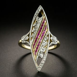 Edwardian Ruby and Diamond Navette Ring, French - 2