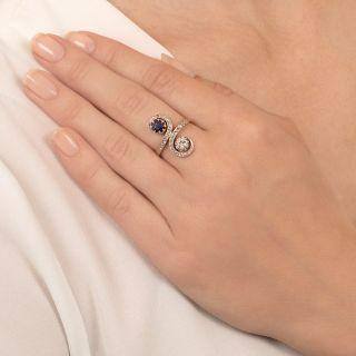 Edwardian Sapphire and Diamond Moi et Toi Ring