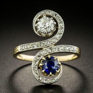 Edwardian Sapphire and Diamond Moi et Toi Ring - 2