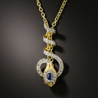 Edwardian Sapphire and Diamond Snake Slide Chain - 2