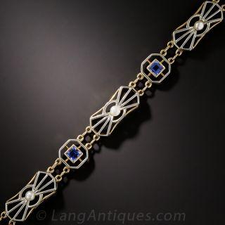 Edwardian Sapphire and Pearl Bracelet