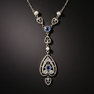 Edwardian Sapphire, Diamond and Pearl Necklace - 2