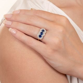 Edwardian Sapphire Trio and Diamond Ring