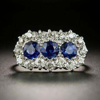Edwardian Sapphire Trio and Diamond Ring - 2