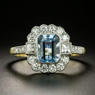 Edwardian Style 1.16 Carat Aquamarine and Diamond Ring - 2