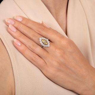 Edwardian Style 1.16 Carat Intense Fancy Yellow/Internally Flawless Marquise Diamond Ring - GIA