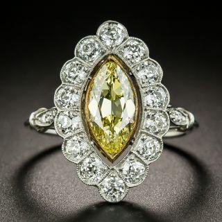 Edwardian Style 1.16 Carat Intense Fancy Yellow/Internally Flawless Marquise Diamond Ring - GIA - 2