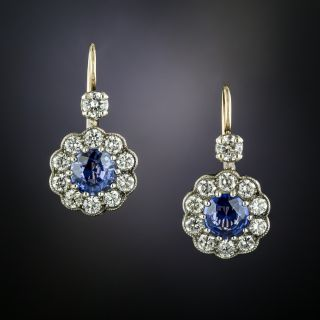 Edwardian Style 1.32 Carat Total Weight Sapphire and Diamond Earrings - 2