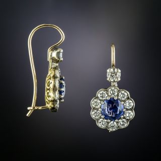 Edwardian Style 1.32 Carat Total Weight Sapphire and Diamond Earrings