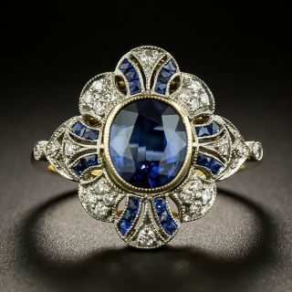 Edwardian Style 1.50 Carat No-Heat Sapphire and Diamond Ring - 3