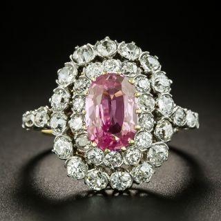 Edwardian-Style 2.00 Carat No-Heat Pink Sapphire and Diamond Ring - 3