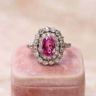Edwardian-Style 2.00 Carat No-Heat Pink Sapphire and Diamond Ring