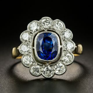 Edwardian Style 2.00 Carat Sapphire and Diamond Halo Ring - 2