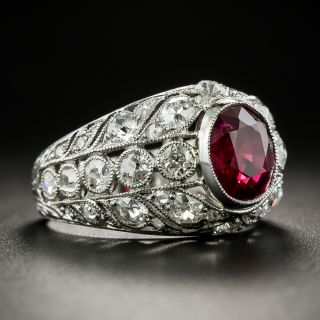 Edwardian Style 2.07 Carat Ruby and Diamond Ring