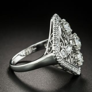Edwardian Style Diamond Scroll Motif Dinner Ring