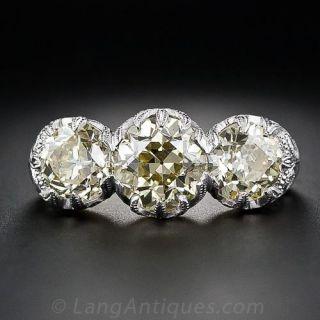 Edwardian Style Fancy Yellow Three-Stone Diamond Ring - GIA - 1