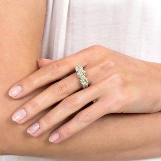 Edwardian Style Fancy Yellow Three-Stone Diamond Ring - GIA