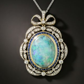 Edwardian Style Opal, Diamond and Sapphire Pendant/Brooch - 2