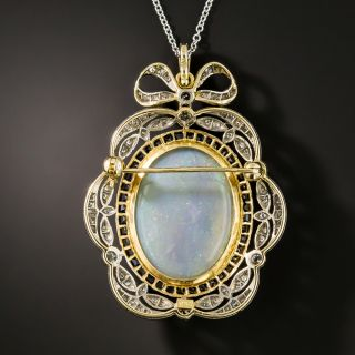 Edwardian Style Opal, Diamond and Sapphire Pendant/Brooch