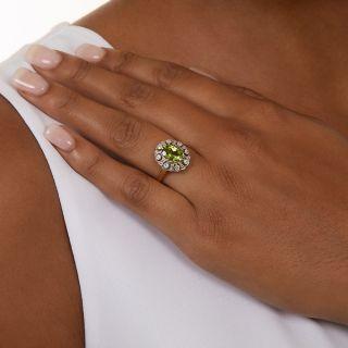 Edwardian Style Peridot and Diamond Cluster Ring, English