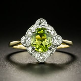 Edwardian-Style Peridot and Diamond Ring, English - 2