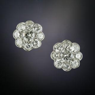 Edwardian Style Platinum Diamond Cluster Earrings - 2