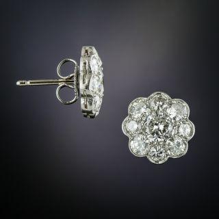 Edwardian Style Platinum Diamond Cluster Earrings